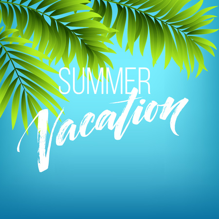 summer trees: Summer vacation handwriting. Typography, lettering and calligraphy. Poster and flyer design template. Summer landscape with palm trees and sea. Vector illustration EPS10 Illustration