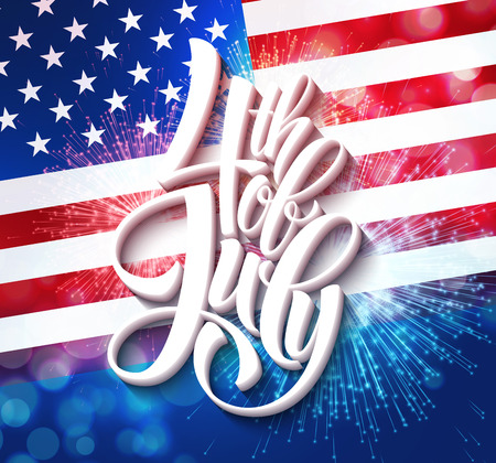 state: American Independence Day lettering design. A template background for greeting cards, posters, leaflets and brochure. Vector illustration EPS10 Illustration