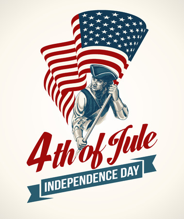 memorial: American Independence Day lettering design. A template background for greeting cards, posters, leaflets and brochure. Vector illustration EPS10 Illustration