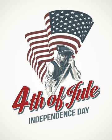 leaflets: American Independence Day lettering design. A template background for greeting cards, posters, leaflets and brochure. Vector illustration EPS10 Illustration