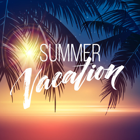 Summer vacation handwriting. Typography, lettering and calligraphy. Poster and flyer design template. Summer landscape with palm trees and sea. Vector illustration EPS10 Ilustrace