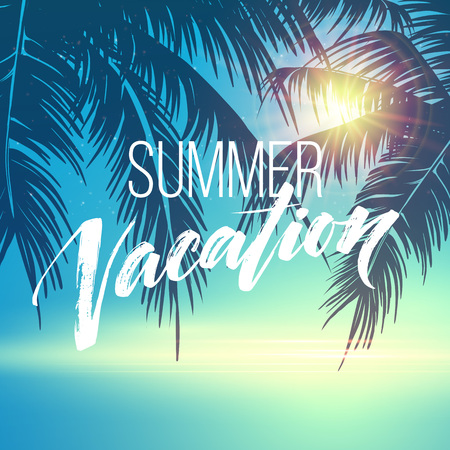 Summer vacation handwriting. Typography, lettering and calligraphy. Poster and flyer design template. Summer landscape with palm trees and sea. Vector illustration EPS10 Vettoriali