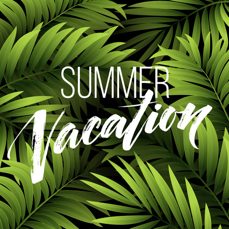 relax: Summer vacation handwriting. Typography, lettering and calligraphy. Poster and flyer design template. The palm and monstera leaves. Vector illustration EPS10