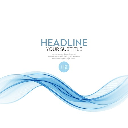 Abstract vector background, blue transparent waved lines for brochure, website, flyer design EPS10 Çizim