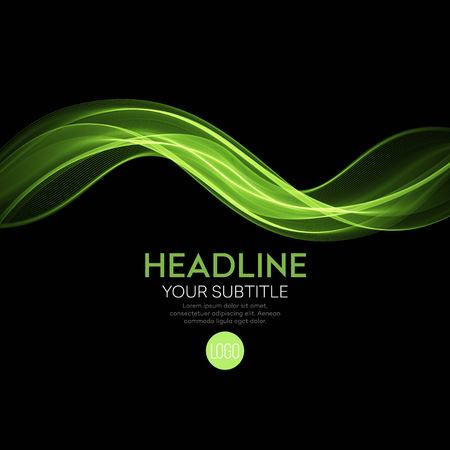green and black: Abstract green wave on black background. Vector illustration EPS10