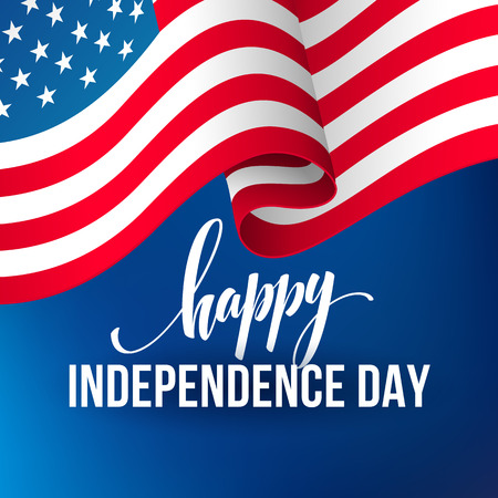 America independence day template flag backgrounds, Calligraphic handwriting typography for printing booklets, brochures, posters, leaflets and flyers. Vector illustration EPS10 Illustration