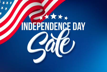 America independence day sale template flag backgrounds, Calligraphic handwriting typography for printing booklets, brochures, posters, leaflets and flyers. Vector illustration EPS10 Фото со стока - 59881899