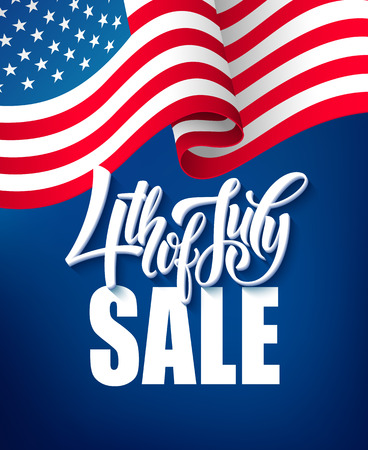 America independence day sale template flag backgrounds, Calligraphic handwriting typography for printing booklets, brochures, posters, leaflets and flyers. Vector illustration EPS10