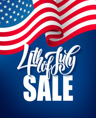 Amerika onafhankelijkheidsdag verkoop sjabloon vlag achtergronden, kalligrafische handschrift typografie voor het afdrukken van boekjes, brochures, posters, folders en flyers. Vector illustratie EPS10