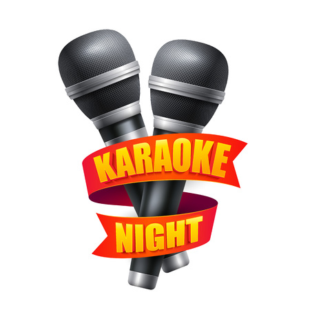 leaflets: Microphone and ribbon for karaoke night party design. Object for booklets, brochures, posters, leaflets and flyers. Vector illustration EPS10