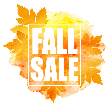 fall: Fall sale poster with colorful watercolor leaves. Vector illustration EPS10 Illustration