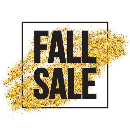 black gold: Fall Sale promo label. Golden glitter template for banner, poster, certificate. Autumn Gold glittering. Vector illustration EPS10 Illustration