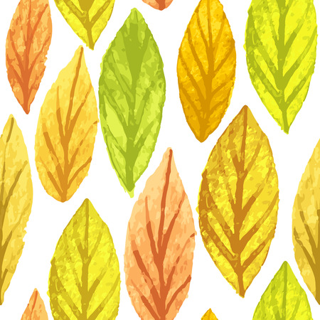 Colorful autumn leaves seamless pattern. Watercolor painting texture.