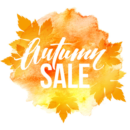 fall leaf: Autumn leaves. Watercolor texture. Fall leaf. Sale lettering design.