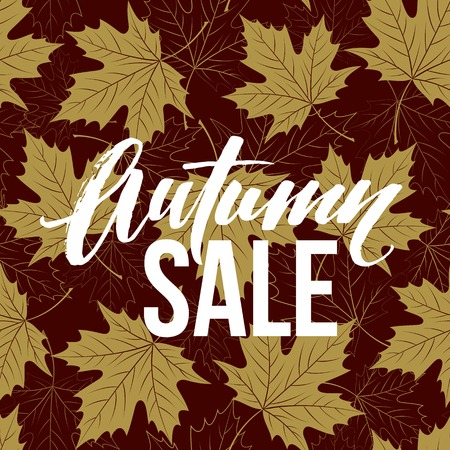 golden color: Autumn hand written lettering. Golden, black and white color. Fall sale banner design.