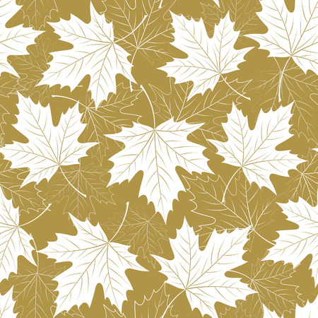 golden color: Fall leaf seamless pattern. Autumn foliage. Repeating golden color design. Illustration