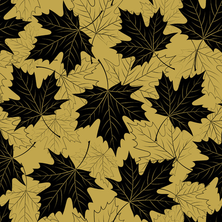 Fall leaf seamless pattern. Autumn foliage. Repeating golden color design. Illustration