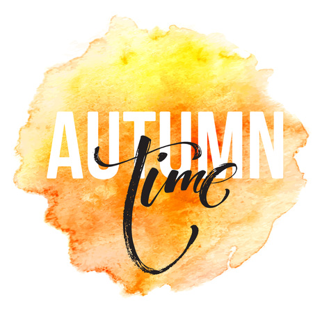 fall leaves: Fall time poster with colorful watercolor leaves. Illustration