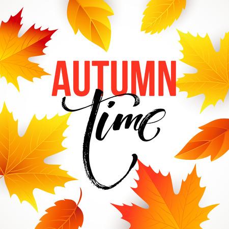 seasonal: Autumn time seasonal banner design. Fall leaf.