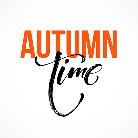 calligraph: Fall Modern time calligraph card. Hand drawn lettering design. Ink illustration. Autumn poster.