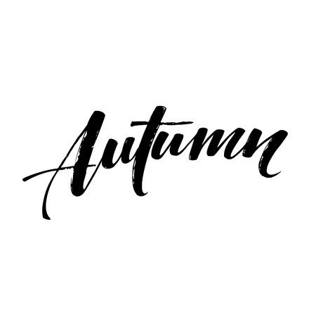 calligraph: Fall Modern calligraph card. Hand drawn lettering design. Ink illustration. Autumn poster. Illustration
