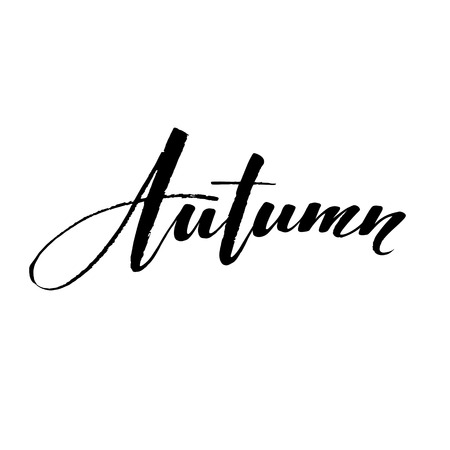 Fall Modern calligraph card. Hand drawn lettering design. Ink illustration. Autumn poster. Illustration