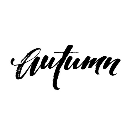 Fall Modern calligraph card. Hand drawn lettering design. Ink illustration. Autumn poster. Vector illustration EPS10