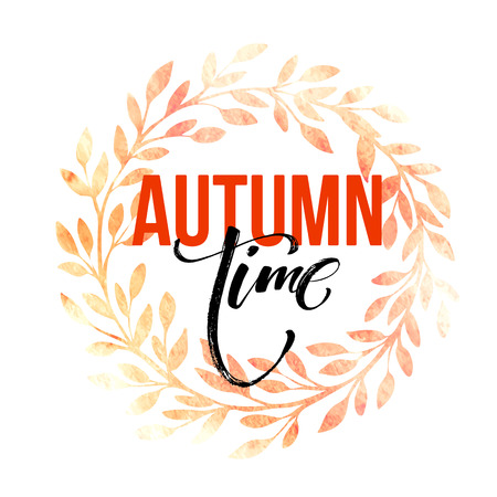 arbol roble: Autumn leaves vector wreath. Watercolor texture. Fall leaf. Sale lettering design. Vector illustration EPS10