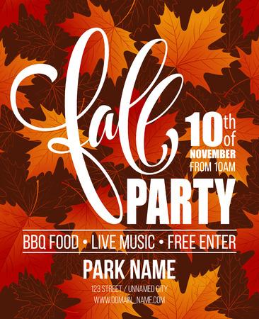 Fall Party. Modèle pour affiche d'automne, bannière, dépliant. Illustration vectorielle. Illustration Vectorisée EPS10 Banque d'images - 61955517