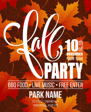 Fall Party. Template for Autumn poster, banner, flyer. Vector illustration. Vector illustration EPS10 Stock Vector - 61955517
