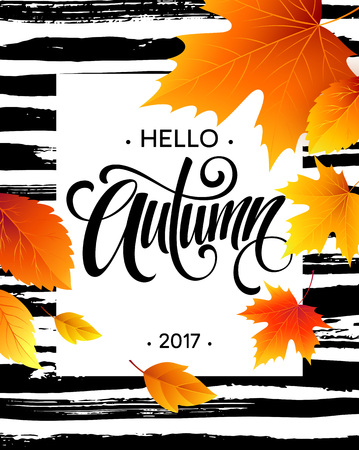 Hello, Autumn. The trend calligraphy. Background of Fall leaves. Concept leaflet, flyer, poster advertising. Vector illustration EPS10