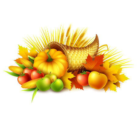 Illustration of a Thanksgiving cornucopia full of harvest fruits and vegetables. Fall greeting design. Autumn harvest celebration. Pumpkin and leaves. Vector illustration EPS10 Vettoriali