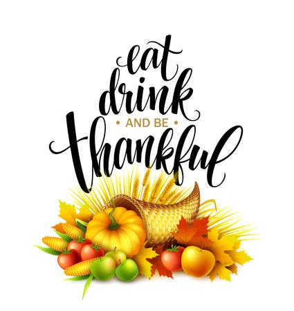 Illustration of a Thanksgiving cornucopia full of harvest fruits and vegetables. Fall greeting design. Autumn harvest celebration. Pumpkin and leaves. Vector illustration EPS10  イラスト・ベクター素材