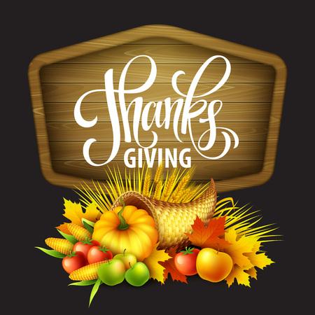 thanksgiving cornucopia: Illustration of a Thanksgiving cornucopia full of harvest fruits and vegetables. Fall greeting design. Autumn harvest celebration. Pumpkin and leaves. Vector illustration EPS10 Illustration