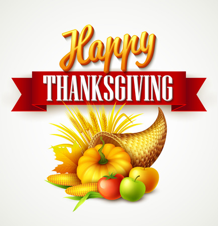 Illustration of a Thanksgiving cornucopia full of harvest fruits and vegetables. Fall greeting design. Autumn harvest celebration. Pumpkin and leaves. Vector illustration EPS10 Illustration