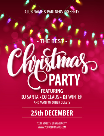 Merry Christmas Party Poster. Illustrazione vettoriale EPS10