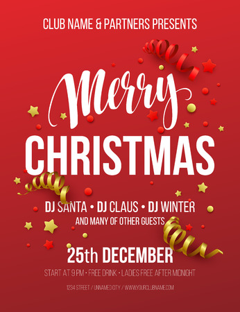 christmas party: Merry Christmas Party Poster. Vector illustration EPS10