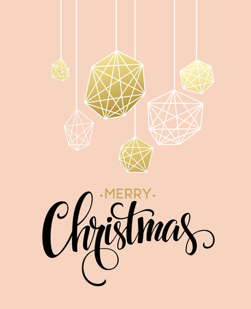 december: Christmas Greeting Card with handdrawn lettering. Golden, black and white colors. Trend design element for xmas decorations and posters. Vector illustration EPS10 Illustration