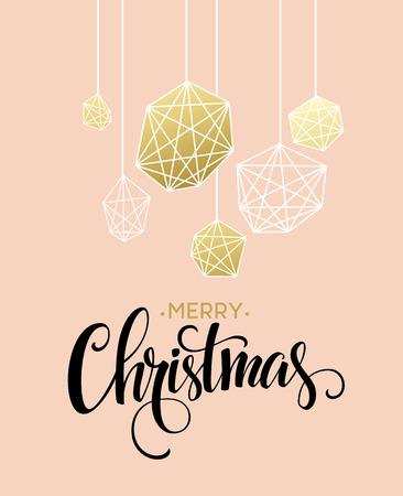 diciembre: Tarjeta de felicitación de Navidad con letras dibujado a mano. colores dorados, negros y blancos. Tendencia elemento de diseño para las decoraciones de Navidad y carteles. ilustración vectorial EPS10