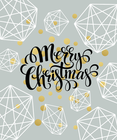 happy new years: Christmas Greeting Card with handdrawn lettering. Golden, black and white colors. Trend design element for xmas decorations and posters. Vector illustration EPS10 Illustration
