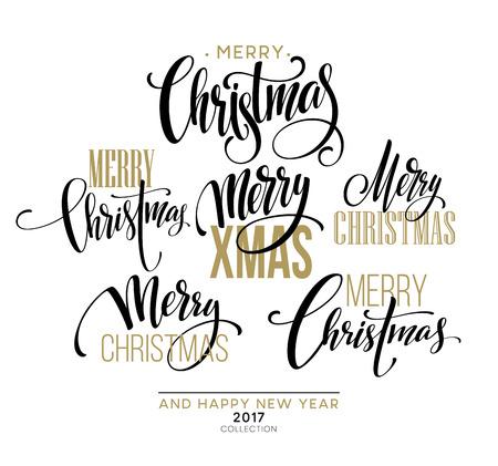 Merry Christmas Lettering Design Set. Vector illustration EPS10 Stock Illustratie