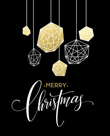 christmas poster: Christmas Greeting Card with handdrawn lettering. Golden, black and white colors. Trend design element for xmas decorations and posters. Vector illustration EPS10 Illustration