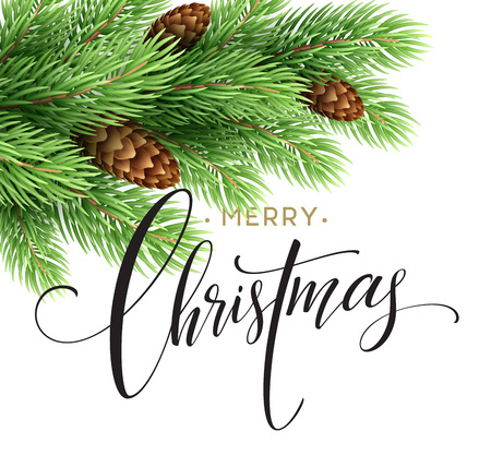 furtree: Merry Christmas and Happy New Year 2017 greeting card, vector illustration EPS10 Illustration