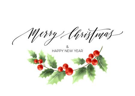 Merry Christmas napis karty z Holly. ilustracji wektorowych EPS 10