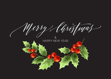 Merry Christmas belettering kaart met hulst. Vector illustratie EPS 10