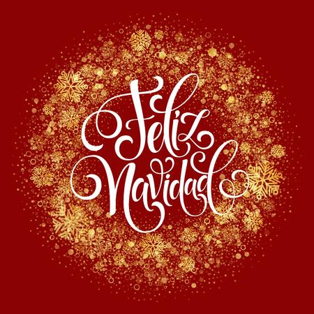 navidad elegante: Feliz Navidad de texto decoración de la mano de letras para la plantilla de diseño de la tarjeta de felicitación. etiqueta Feliz Navidad en la tipografía española. inscripción caligráfica para vacaciones de invierno ilustración vectorial EPS10