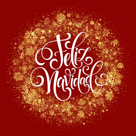 typography: Feliz Navidad hand lettering decoration text for greeting card design template. Merry Christmas typography label in spanish. Calligraphic inscription for winter holidays Vector illustration EPS10