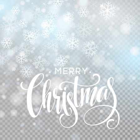 transparence: Christmas handwritten lettering text on blurred background with lights. Transparence effect. Vector illustration EPS10