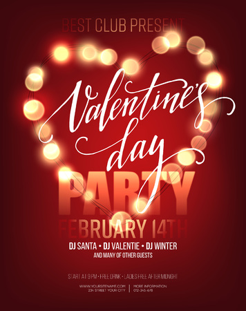 bright lights: Valentines day Party poster with bright lights. Vector illustration