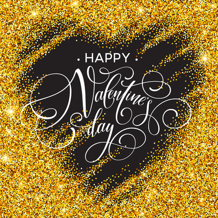 Happy valentines day love greeting card with white low poly style heart shape in golden glitter background. Vector illustration Illustration
